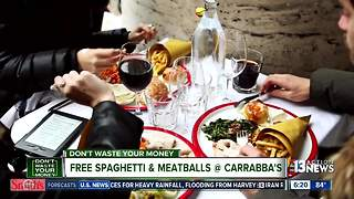 Get free spaghetti & meatballs at Carrabba's - Video