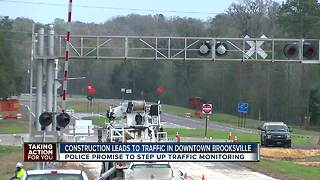 Construction leads to traffic in downtown Brooksville - Video