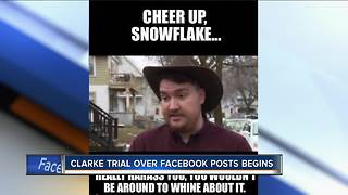 Clarke trial over Facebook posts begins - Video