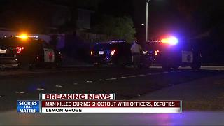 Man killed in shootout with officers and deputies - Video