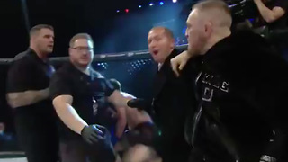 Conor McGregor RUSHES Bellator Cage, SHOVES Referee! - Video