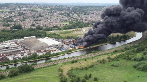Black Smoke Billows From Site of Recycling Centre Fire in South Yorkshire