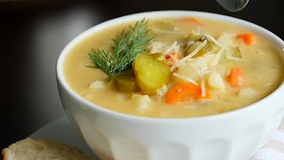 Tangy dill pickle potato soup recipe