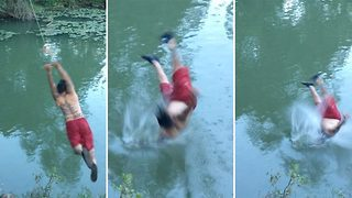 Hilarious rope swing fail - Video