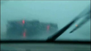 Truck blown over by storm in Iowa
