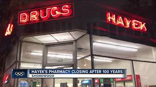 Shorewood's Hayek's Pharmacy closing after 100 years of business - Video