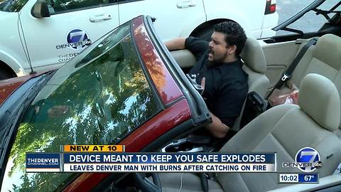 Denver men say auto safety device 'Crashsafe' exploded while charging phone