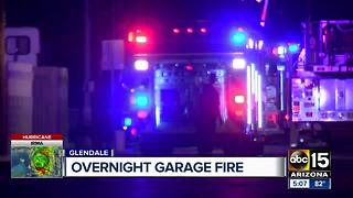 Garage catches fire in Glendale early Sunday - Video