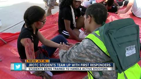JROTC Students team up  with first responders