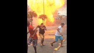 Gas Cylinders Explode in Burning Car in Rio de Janeiro Street - Video