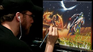 Acrylic Painting of a Dragon and Fantasy Landscape - Time-lapse - Artist Timothy Stanford