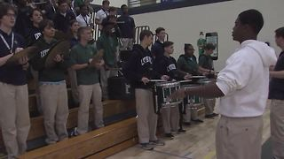 Friday Football Frenzy: Cathedral High School band rallies students for their game against the Center Grove Trojans - Video