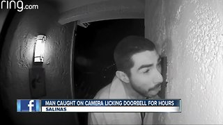 Caught on camera: Man licks doorbell for hours