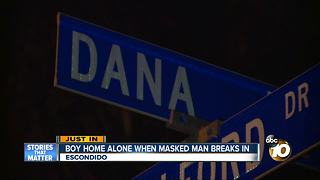 Boy home alone when masked man breaks in - Video