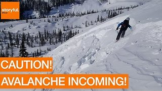 Backcountry Skier Triggers Mini-Avalanche on US West Coast - Video