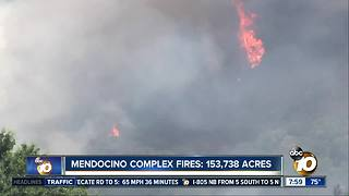 Mendocino Complex Fires: 153,738 Acres - Video