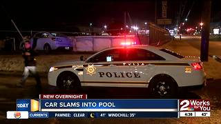 Car slams into pool near 11th Sheridan - Video