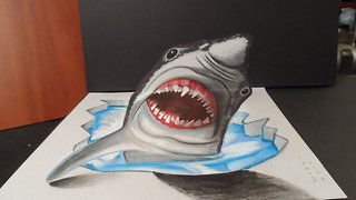 Drawing a 3D dreadful Great White Shark - Video