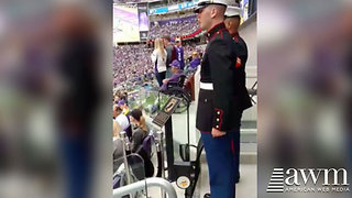 Anthem Protestors Shamed When Two Marines Stand And Salute Empty Seat - Video