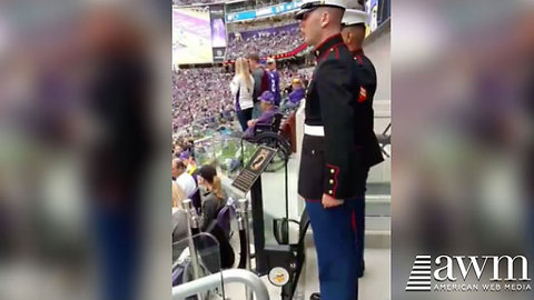 Anthem Protestors Shamed When Two Marines Stand And Salute Empty Seat
