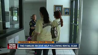 Two families receive help from stranger following rental scam - Video