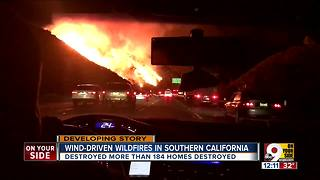 Wind-driven wildfires in southern California - Video