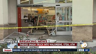 Truck crashes into Walgreens, thieves rip out ATM