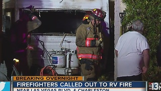 RV catches fire near downtown - Video
