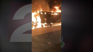 Semi bursts into flames on Will Rogers Turnpike