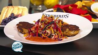 Firebirds Wood Fired Grill prepares Crab Cakes with Tortilla Slaw - Video