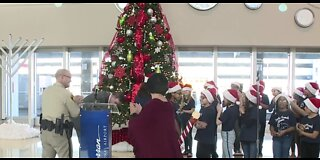 Christmas tree lighting at airport