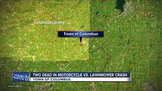 Two dead in motorcycle vs. lawnmower crash - Video