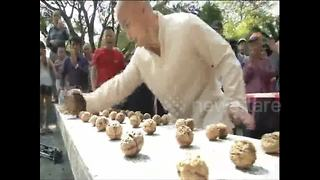 Martial Arts Master 'Sets New World Record' For Smashing Walnuts With Bare Hands - Video