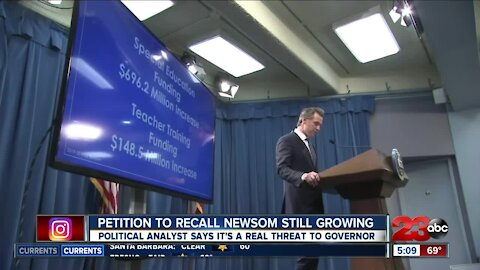 """Petition to recall Governor Gavin Newsom still growing, political analyst says it's """"a real threat"""""""