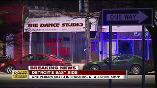 1 killed in shooting at T-shirt shop on Detroit's east side