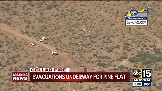Cellar Fire forces evacuations near Pine Flat