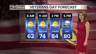Warm and sunny skies ahead for Veteran's Day weekend in the Valley - Video