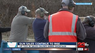 Gun sales continue to rise, uptick in sales causes ammo shortage