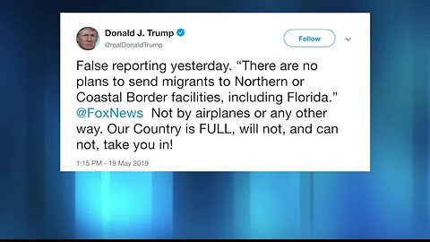 President Trump denies plans to fly migrants from border to Florida