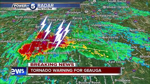 NWS issues tornado warning for Trumbull, Geauga, Ashtabula counties