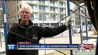 New downtown Tulsa art made entirely of sticks - Video
