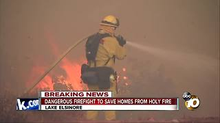 Dangerous firefight to save homes from Holy Fire - Video