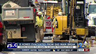 Gas main break in Pikesville - Video
