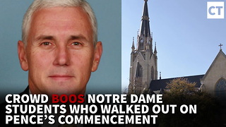 Watch: Crowd Boos Notre Dame Students Who Walked Out on Pence's Commencement - Video