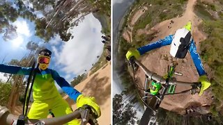 Incredible POV footage shows rider hold on to BMX with just one hand during stunt