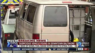 Suspicious vehicle towed from downtown Baltimore parking garage