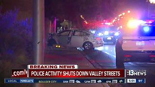 Car crashes into wall near Decatur, Desert Inn Road - Video