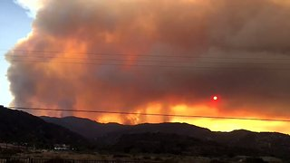 California's 'Holy' Fire Creates Sunset Effect Near Lake Elsinore - Video