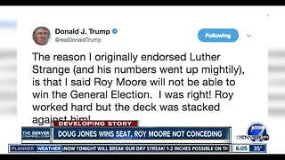 "Jones beats Moore, Trump tweets ""I was right"" - Video"
