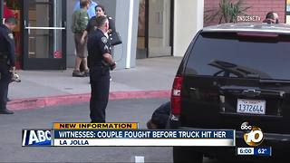 Witnesses: Couple fought before truck hit her - Video